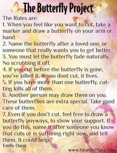 The Butterfly Project. Please try this. This is what helped me stop. I know it's hard but it's possible to stop!