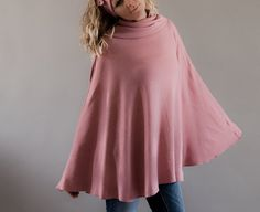 Women s Poncho in Tea Rose Pink  Angora Jersey Cape by MoonHalo,