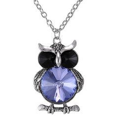 Faux Crystal Owl Pendant Sweater Chain ($1.79) ❤ liked on Polyvore featuring jewelry, pendants, artificial jewellery, imitation jewelry, pendant jewelry, owl pendant and chain pendants