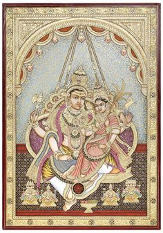 Goddess Rajarajeshwari and Lord Shiva on a Swing , Hindu Tanjore Painting on BoardTraditional Colors with 24 Karat GoldArtist: Kailash Raj Mysore Painting, Tanjore Painting, Shiva Linga, Shiva Shakti, Swing Painting, Shiva Lord Wallpapers, Lord Shiva Painting, Religious Paintings, God Pictures
