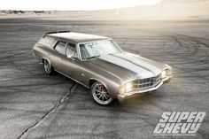 Would you be willing to hit the track in a 4000 pound pro-touring station wagon? Steve's unique 1971 Chevelle Malibu wagon is powered by a cammed LS3 mated to a Tremec T56 6-speed manual transmission and rides on a complete Global West suspension, Penske shocks, Wilwood disc brakes, and 18x9/19x10 Forgeline RB3C wheels finished with Titanium centers & Polished outers! See more at: http://www.forgeline.com/customer_gallery_view.php?cvk=1826  Photos courtesy of Super Chevy Magazine…