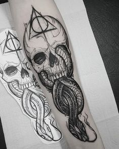 Harry Potter And The Cursed Child Jobs over Harry Potter Houses Quiz Realistic Skull Tattoo Design, Skull Tattoos, Leg Tattoos, Body Art Tattoos, Tattoos For Guys, Tattoos For Women, Tatoos, Half Sleeve Tattoos, Arrow Tattoos