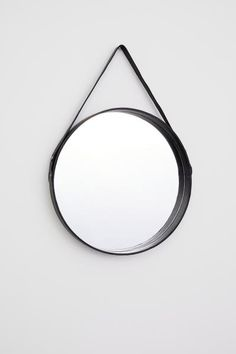 H & M Round Mirror with Leather Frame - Black - Mirror