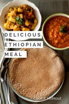 Delicious, filling and wholesome Ethiopian meal. Quick Ethiopian flatbread aka Injera served along with Mesir Wat & Tikel Gomen. #cookshideout #vegan #Ethiopian Lunch Recipes, Vegetarian Recipes, Supper Recipes, Beef Recipes, Easy Recipes, Quick Injera Recipe, Flatbread Recipes, Kitchen Recipes, International Recipes