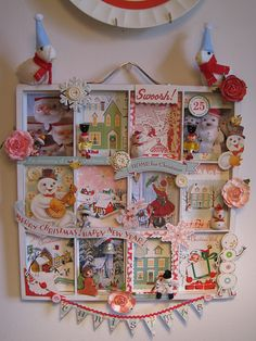 Christmas shadow box-great use for old Christmas Cards!