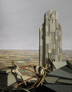 "Kay Sage (American, 1898-1963), ""Men Working,"" 1951, oil on canvas, 45 x 35 in.; 114.3 x 88.9 cm, Joslyn Art Museum, Museum Purchase, 1994.19"