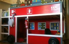 what a cool fire truck bedroom
