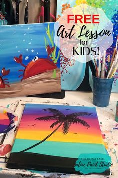Do you have kids or grandkids that need something fun and creative for this summer! The Social Easel Tropical Sunset FREE Kids Painting Tutorial is your Solution. Kids Painting Class, Summer Painting, Painting Lessons, Diy Painting, Painting Tutorials, Summer Drawings, Art Drawings For Kids, Drawing For Kids, Beach Canvas Paintings