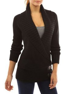 Chic Turn-Down Neck Long Sleeve Button Design Women's Sweater