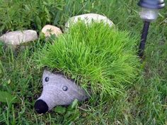 Hedgehog from plastic bottles - decoration garden plot