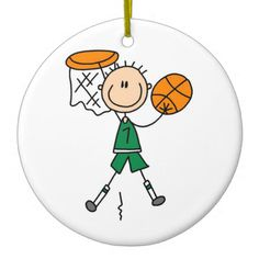 Green Boy Basketball Player t-shirts and Gifts Ornaments