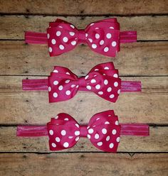 Hot Pink Polka Dot Hair Bow Headband or by SouthernBelleCre2014