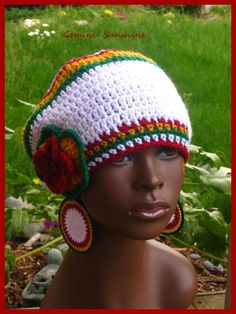 Ethiopian Sol Crochet Tam and Earrings by Geminisunshine on Etsy, $38.00