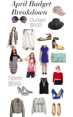 Budgeting Bloggers: April! This month I managed to get over $1,200 worth of clothes, shoes, and accessories for less than $700. That $700 came a little from my wallet, but mostly from blog income and reselling! Check out this post for details.