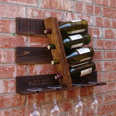 Handmade geometric parallel wine rack. Add that unique look, perfect for any home, apartment, or condo. It has been lightly sanded down, then stained ~ Great pin! For Oahu architectural design visit http://ownerbuiltdesign.com