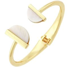 Bcbgeneration Shell Hinge Cuff Bracelet ($9.99) ❤ liked on Polyvore featuring jewelry, bracelets, gold, shell bangles, bcbgeneration jewelry, polish jewelry, artificial jewellery and imitation jewelry