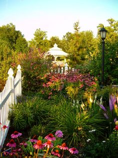 A pretty picket fence helps define this lush garden. From Cottage Gardens We Love