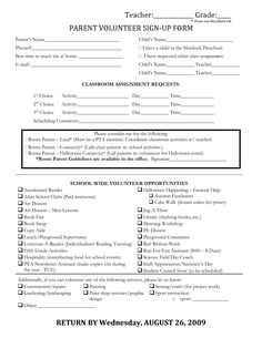 classroom name sign | Parent Volunteer Sign-Up Form