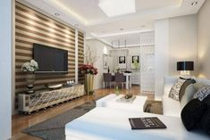 The living room can be decorated in various ways. Not only matching furniture such as cabinets, armc Living Spaces, Living Room, Ideas Para, Ideas Decoración, Flat Screen, Divider, Home Decor, Furniture, White Cabinets