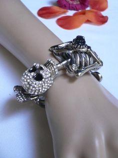 skull jewelry for women | New Women Siilver Full Body Skeleton Hand Cuff Skull Fashion Bracelet ...
