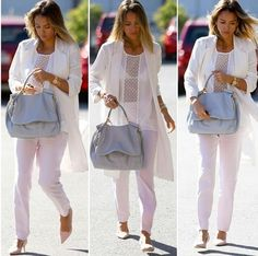 Jessica Alba in all white with a light baby blue tote. Trés stylish.