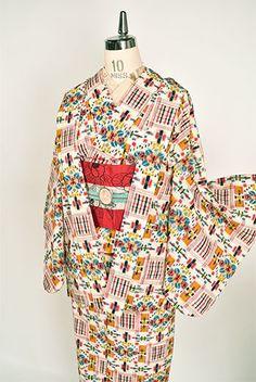 マトリョーシカカラー装飾チェックモダンなウールアンサンブル - アンティーク着物・リサイクル着物のオンラインショップ 姉妹屋