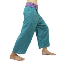 Cyan Thai Fisherman Pants with Thai hand woven fabric on waist side, Wide Leg pants, Wrap pants, Unisex pants  $25.00 Free shipping