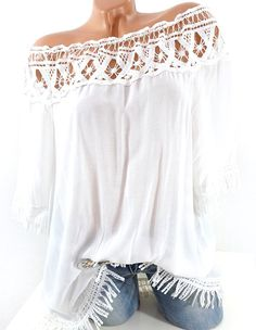 Tunika mit Häkelspitze Carmenausschnitt, schulterfrei oder normal tragbar. Gefunden auf kult-style - der online Shop mit täglich neuer Damenmode aus Italien Boho Outfits, Summer Outfits, Casual Outfits, Cute Outfits, Fashion Outfits, Fashion Shoes, Boho Fashion, Womens Fashion, Punk Fashion
