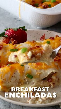 Overnight Breakfast Enchiladas ~ Tortillas stuffed with Sausage, Eggs,Cheese and Bacon! This is the Perfect Overnight Breakfast Casserole Recipe! #breakfast #enchiladas