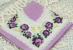 Vintage Hankie White and Lavender Flowers #D-36