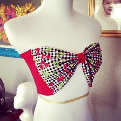 Vintage Inspired Cherry Bow Tube Top Retro by OhHoneyHush on Etsy, $29.99
