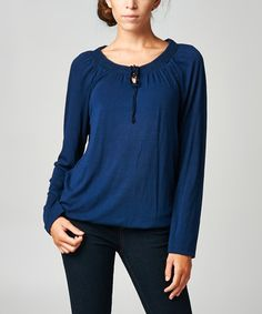 Look what I found on #zulily! Navy Keyhole Scoop Neck Top - Women by Dynasty Fashions #zulilyfinds