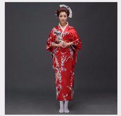 Traditional Women Sexy Satin Kimono Yukata With Obi Performance Dance Dress Japanese Cosplay Costume Flower One Size Kimono Geisha, Traditioneller Kimono, Japanese Kimono Dress, Black Kimono, Satin Kimono, Silk Dress, Silk Satin, Polyester Satin, Red Silk