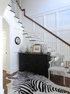 Beautiful foyer plan.   Love all of the white