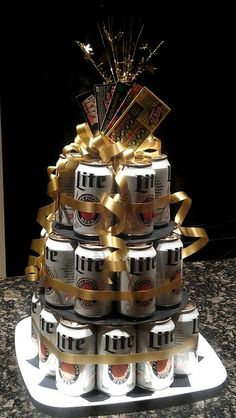 Trendy Birthday Gifts For Boyfriend Beer Can Cakes 43 Ideas Birthday Gifts For Boyfriend, Boyfriend Gifts, 40th Birthday Ideas For Men Gift, Birthday Presents For Him, Beer Can Cakes, Beer Cakes Diy, Cake In A Can, Alcohol Gifts, 50th Birthday Party