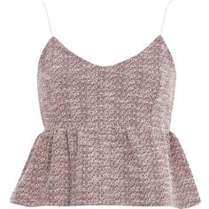 River Island Pink boucle peplum cami (£12) ❤ liked on Polyvore featuring tops, pink, sale, women, pink cami, river island, camis, slimming camisole and pink camisole