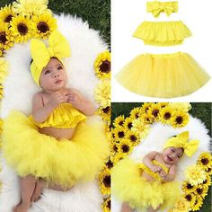 Yellow tulle dress baby set hairband diaper pants and top baby photography summer outfit birthday dress gift for birth girl flowers Tutu Outfits, Girl Outfits, Baby Set, Newborn Pictures, Baby Pictures, 6 Month Baby Picture Ideas, Baby Girl Photography, Foto Baby, Girls Summer Outfits