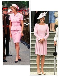 While visiting British troops in 1995, Princess Diana wore a Jackie O. inspired pink suit by Gianni Versace, and in May of 2012, the Duchess wore a rose pink dress by Emilia Wickstead.
