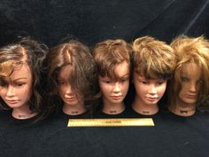 ASSORTMENT OF COSMETOLOGY MANICURE SALON PRACTICE HAIRDRESSING TRAINING HEADS, MAINLY ALL GABRIELA ONE TAMMIE