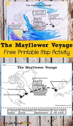 The Mayflower Voyage Free Printable Map Activity -