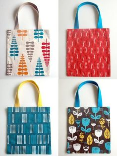 Updated September 2011 We have remade these awesome, simple bags for fall! This time around, I used a gorgeous new collection of upholstery weight cotton called Outside Oslo. These bold, stylish prints are sophisticated without being serious and come in a rich palette of colors perfect for fall. I added some sturdy contrasting cotton webbing handles for a pop of color, and I love the way they came out!