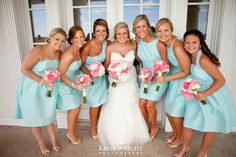Alfred sung Seaside bridesmaid dresses Pink+blue wedding