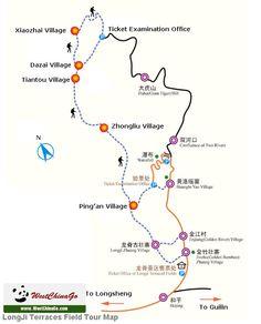 longji terraces field tour map www.westchinago.com info@westchinago.com