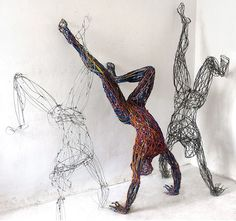 Playfully Energetic Figures Constructed With Colorful Wire Artist Juidt Rita Rabocsky