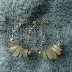 Moonstone hoop earrings.  Genuine Moonstone earrings, made to order boho wedding earrings, limited edition white stone earrings.  Handmade in the UK by CalicoRoseStudio  £9.95