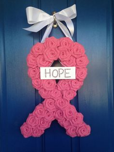 Breast Cancer Awareness Wreath/ Burlap Wreath by WoulfsCreations You are in the right place about ye Breast Cancer Wreath, Breast Cancer Crafts, Breast Cancer Survivor, Breast Cancer Awareness, Pink Out, Go Pink, Wreath Crafts, Wreath Burlap, Diy Wreath