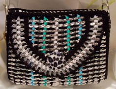 Purse, handmade with recycled pop tabs, fun unique black, light green, blue and white bag