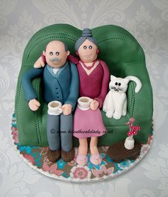 Retired couple on sofa cake - By Helen The Cake Lady