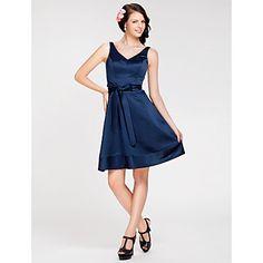 A-line V-neck Knee-length Satin Bridesmaid Dress  - USD $ 99.99