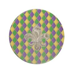 Mardi Gras Harlequin Pattern Coaster w/Fleur de Lis #sandstone #mardigras #drinks  www.zazzle.com/mardi_gras_harlequin_pattern_coaster_w_fleur_delys-174058480413921579?rf=238103832244443513&tc=pin